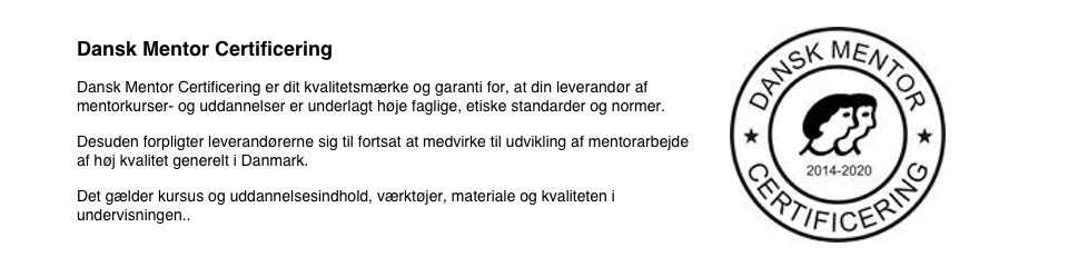 Mentoruddannelse Jylland, Dansk mentor certificering